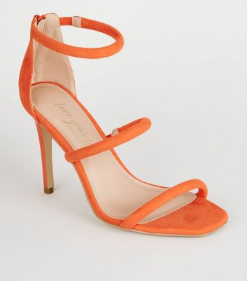 Orange Suedette Tube Strap Stiletto Heels
