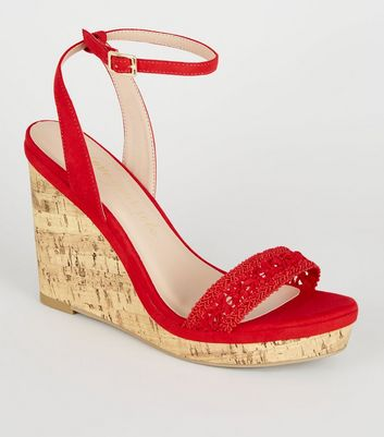 Wide Fit Red Lace Strap Cork Wedges