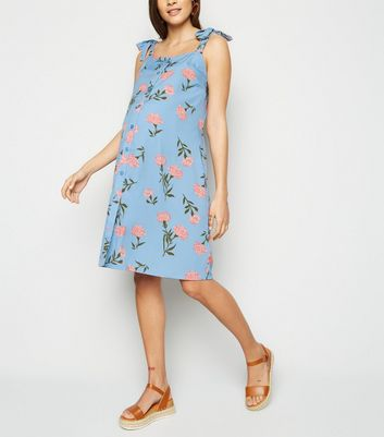 Maternity Pale Blue Floral Button Up Dress