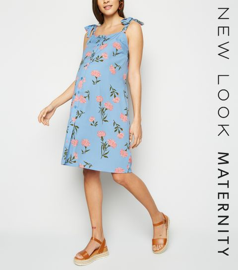 bbbd9dafe9c ... Maternity Pale Blue Floral Button Up Dress ...