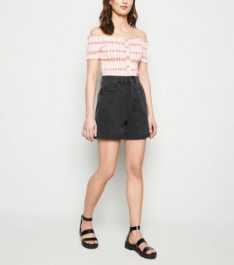 0b89644a3a8286 ... Black Vintage Wash Longline Mom Shorts ...