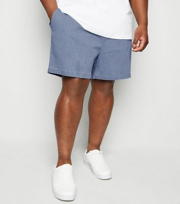 Plus Size Blue Stripe Drawstring Shorts