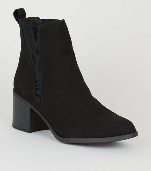 fce56cc5c77c3 Black Suedette Mid Block Heel Chelsea Boots ...