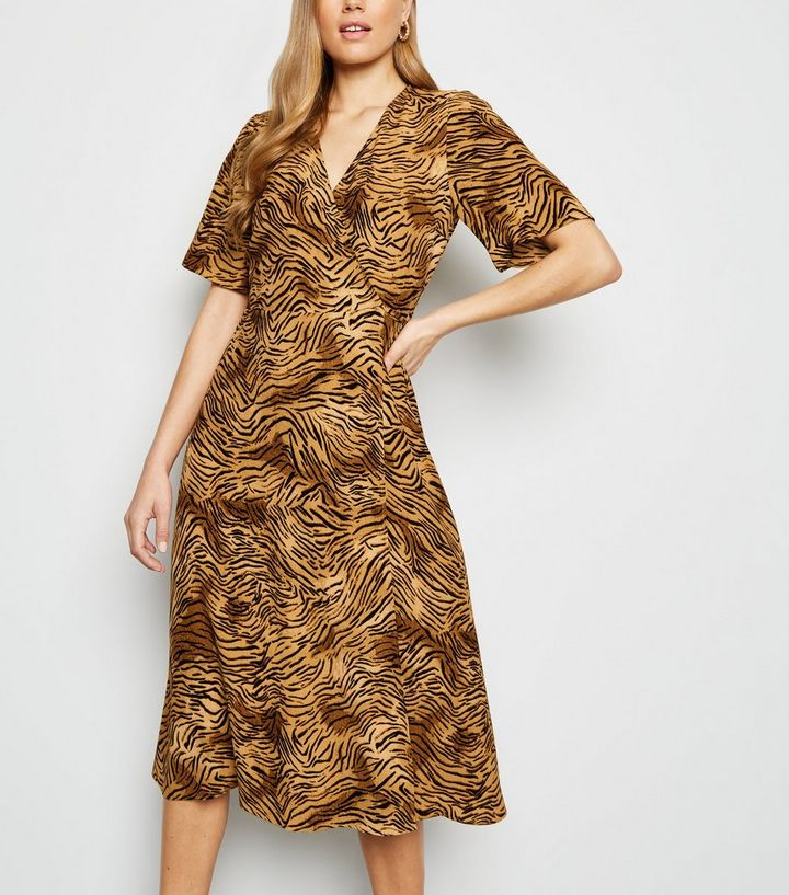 Brown Tiger Print Midi Wrap Dress Add to Saved Items Remove from Saved Items