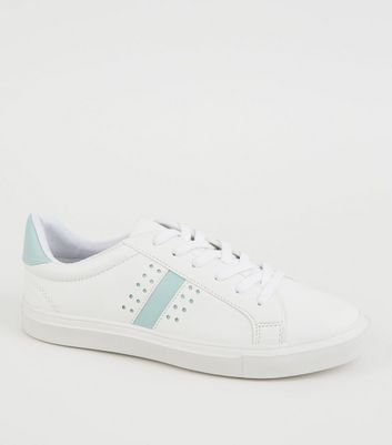 White Leather-Look Perforated Lace Up Trainers