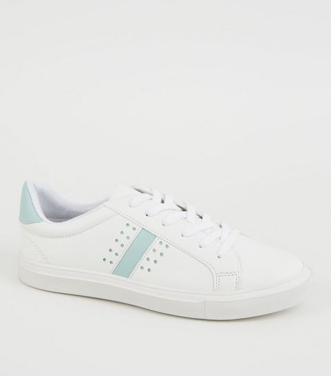 3edc05edb77 ... White Leather-Look Perforated Lace Up Trainers ...