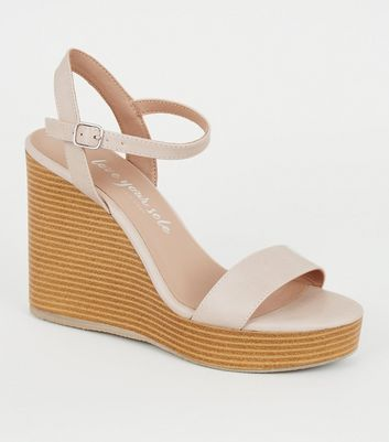 Nude Leather-Look 2 Part Wood Wedges