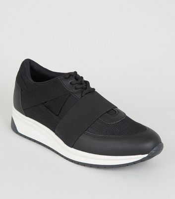 Black Strap Side Lace Up Trainers