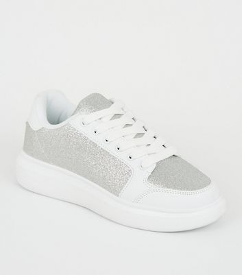 Girls Silver Glitter Lace Up Chunky Trainers