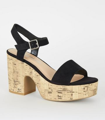 Black Suedette Chunky Cork Sandals