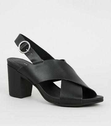 Black Leather-Look Cross Strap Heels