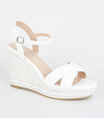 White Suedette Woven Glitter Wedges