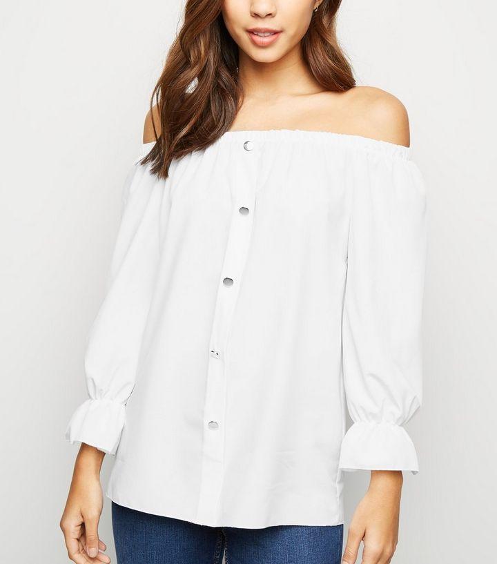 0c518d27cc5 Urban Bliss White Button Bardot Top | New Look