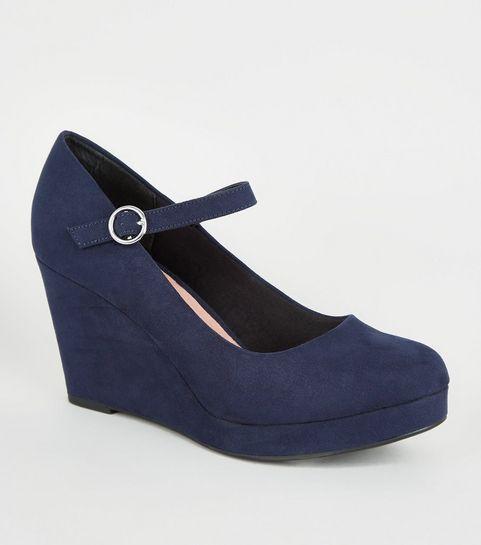 b5d98c7ab61cf Navy Comfort Suedette Wedge Heels · Navy Comfort Suedette Wedge Heels ...
