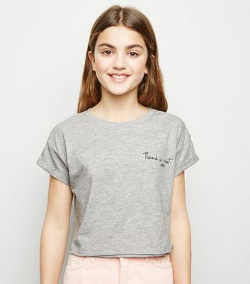 Girls Grey Thank You Next Slogan T-Shirt