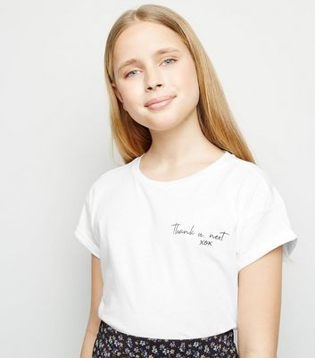 Girls White Thank You Next Slogan T-Shirt
