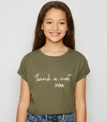 Girls Khaki Thank You Next Slogan T-Shirt