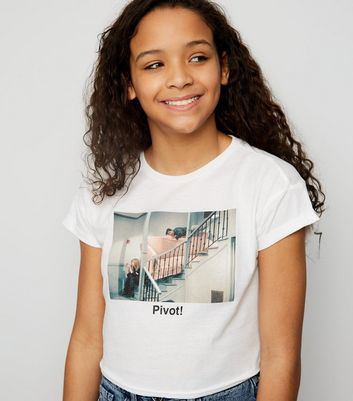 "Girls – Weißes Friends-T-Shirt mit ""Pivot""-Slogan"