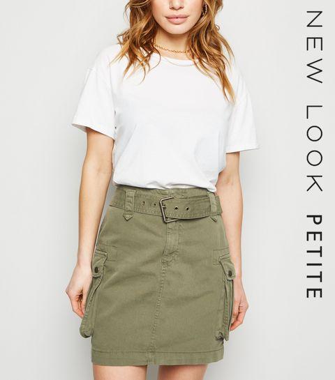 dfb4c4afa1a ... Petite Khaki Belted Denim Utility Skirt ...