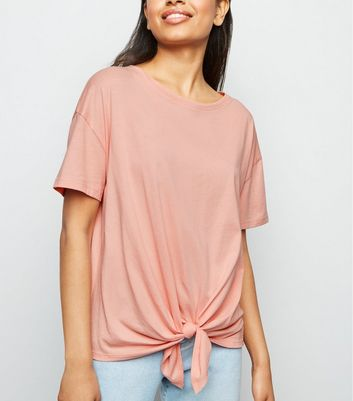 Petite Coral Tie Front Short Sleeve T-Shirt