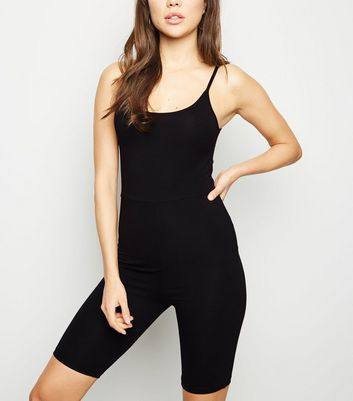 Black Strappy Cycling Unitard