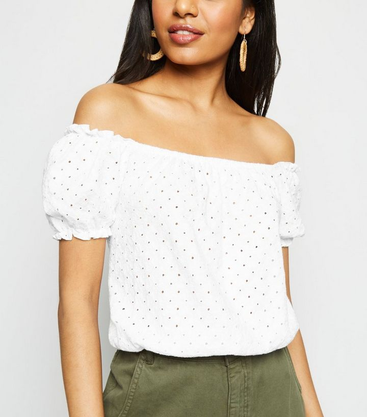 71d15a04ad0 Petite White Broderie Bardot Top | New Look