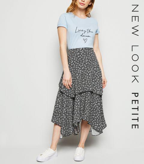 b7af171ac1 ... Petite Black Ditsy Floral Hanky Hem Midi Skirt ...