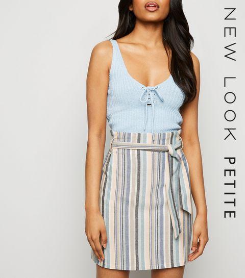 f5804baacb8 ... Petite Pink Stripe Linen Look Paperbag Skirt ...