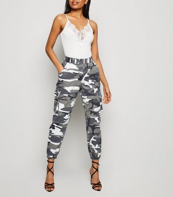 Petite Light Grey Camo Utility Joggers