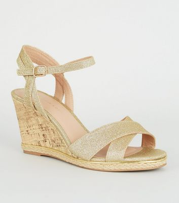 Wide Fit Gold Glitter Espadrille Cork Wedges