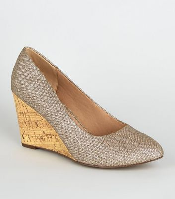 Wide Fit Gold Glitter Cork Wedges