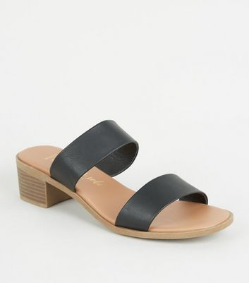 Wide Fit Black Leather-Look Footbed Mules