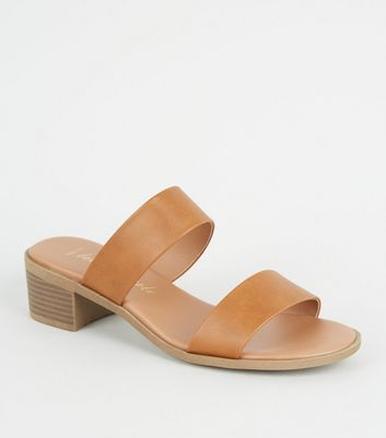 Wide Fit Tan Leather-Look Footbed Mules