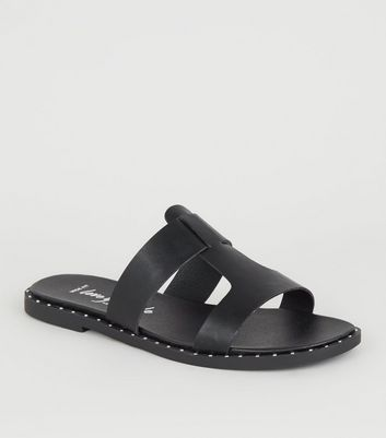 Wide Fit Black Interlocked Strap Footbed Sliders