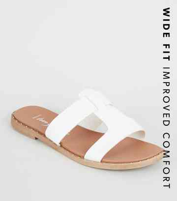 Wide Fit White Interlocked Strap Footbed Sliders