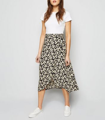Black Daisy Wrap Midi Skirt