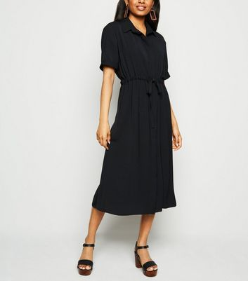 Petite Black Drawstring Shirt Midi Dress