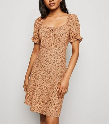 Petite Brown Floral Milkmaid Tea Dress