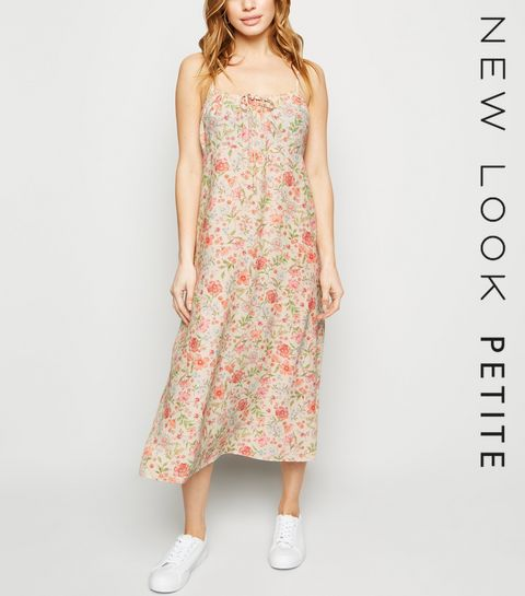 7325b4b602b ... Petite White Floral Tie Front Midi Dress ...