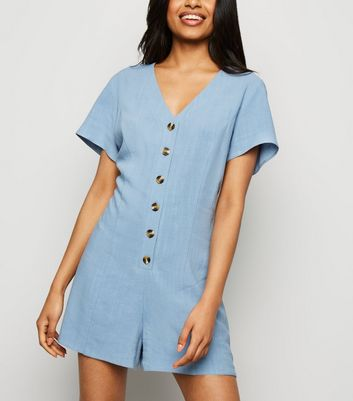 Petite Blue Linen Look Button Up Playsuit