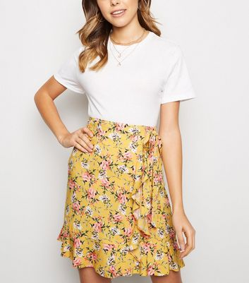 Mustard Floral Ruffle Trim Mini Skirt