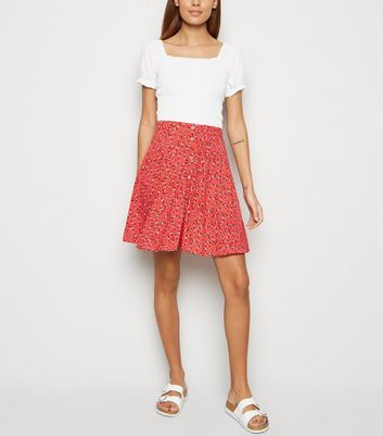 Red Ditsy Floral Button Up Skater Skirt