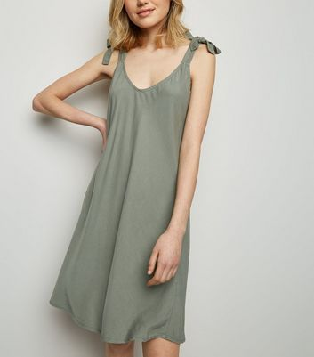 Cameo Rose Khaki Tie Shoulder Mini Dress