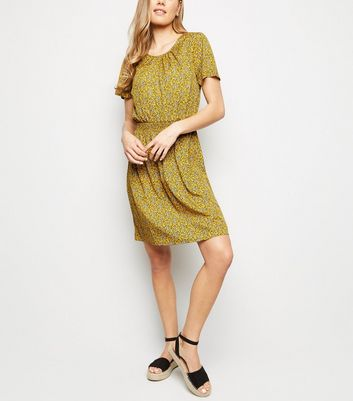 Tall Mustard Ditsy Floral Shirred Waist Dress