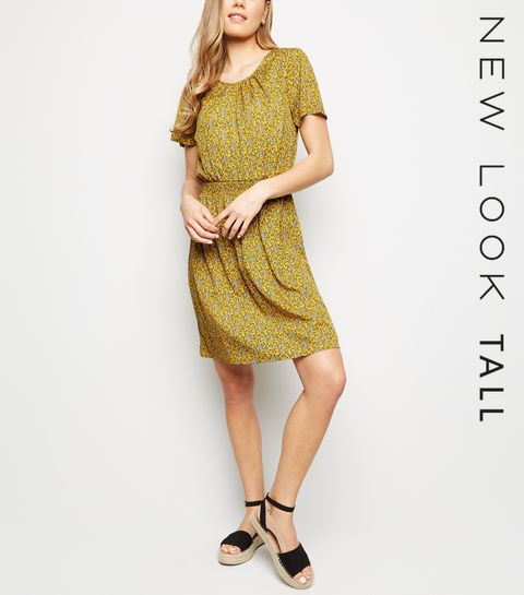 8a4ac8efd3 ... Tall Mustard Ditsy Floral Shirred Waist Dress ...
