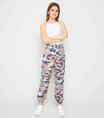 Girls Pink Camo Utility Trousers