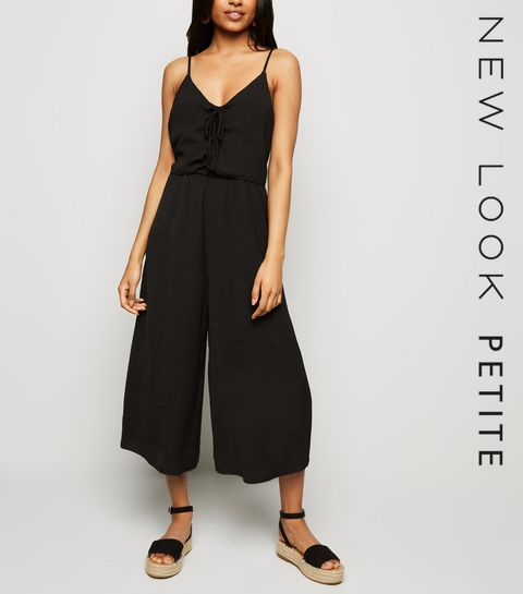 652a3ce0e60 ... Petite Black Strappy Lace Up Jumpsuit ...