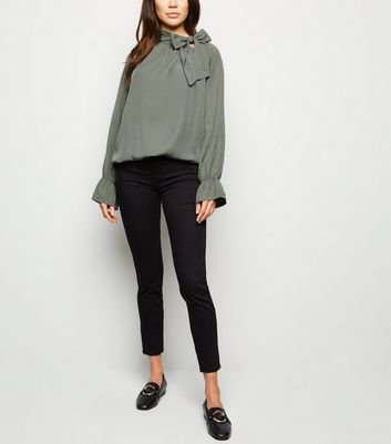 Cameo Rose Khaki Tie Neck Blouse by New Look