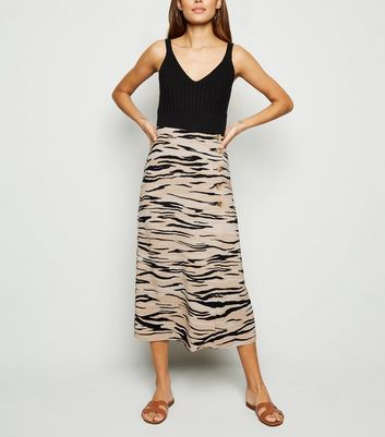Brown Tiger Print Button Front Midi Skirt