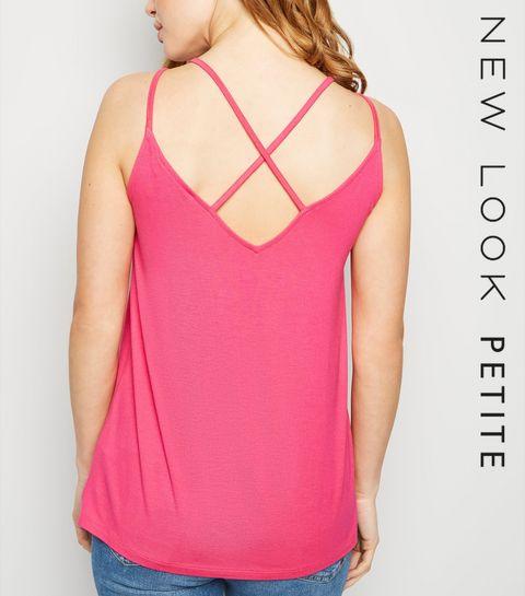 67cd5af94f7 ... Petite Pink Cross Back Cami ...